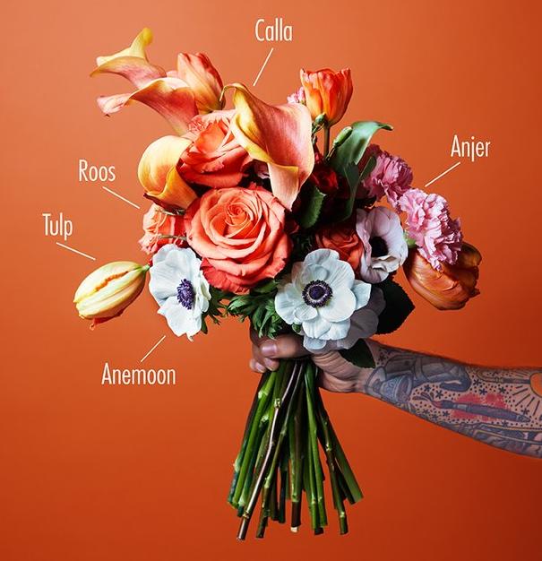 boeket recept bloemen geschenk 14 februari Valentijn idee inspiratie cadeau bloemen ware liefde symboliek creativiteit mooi eerste date first date afspraak geheime aanbidder diy samenstellen boeket rozen scabiose chrysant calla gerbera freesia Fleur Magazine Fleur Creatief