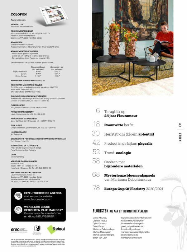 fleur creatief herfst 2020 herfstcreaties bloemsierkunst bloemschikken bloemendesigns sören van laer floristen bloemisten floristiek floral art floral design inspiratie tips tricks ecologie fleuramour Europese Kampioenschappen 2021 magazine